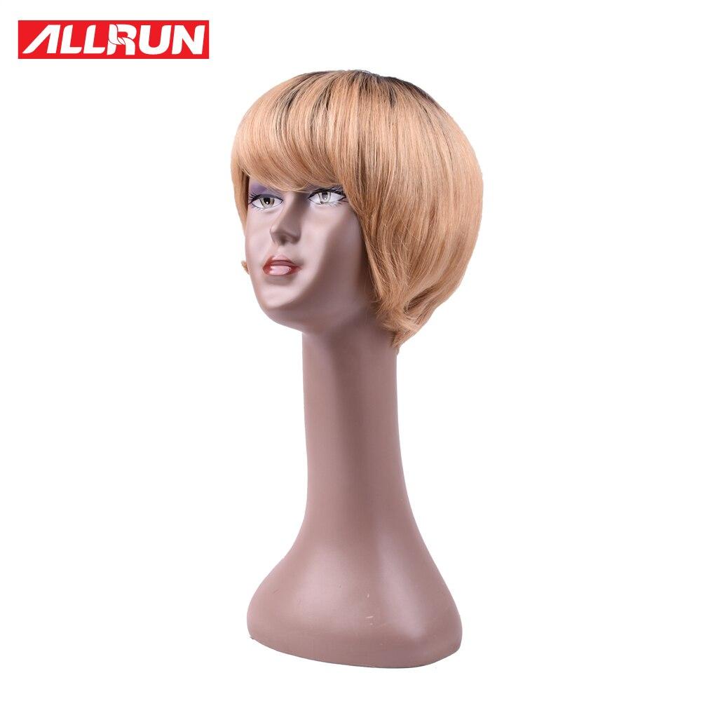 ALLRUN 130% Short Cut Bob Wig Machine Made Human Hair Wigs Hair European Tb/27 Color Remy Hair Free Shipping