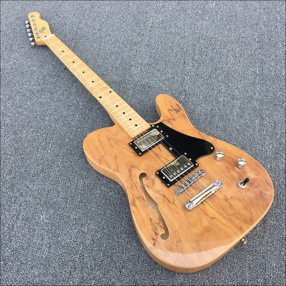 High quality,2 humbuckers pickups S hole electric guitar,body spalted mape ,black pickguard,Real photos,free shipping