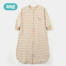 AAG Baby Sleeping Bag Natural Colored Pure Cotton Spring and Autumn Newborn Child Sleepwear Striped Sleeping Bag Zipper
