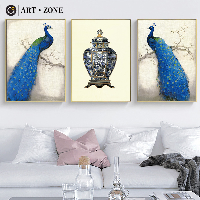 ART ZONE New Chinese Paintings Animal Blue Peacock A4 Canvas Painting Art Print Poster Wall Art Paintings Home Living Room Decor art