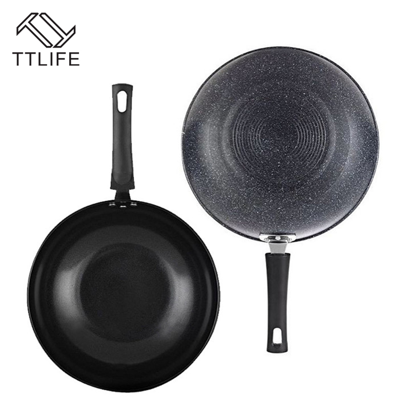 TTLIFE Healthy Pans Oil-free Not Sticky Pot 32CM Cooking Pots Smokeless Wok Sets Gas Electromagnetic Cooker Universal
