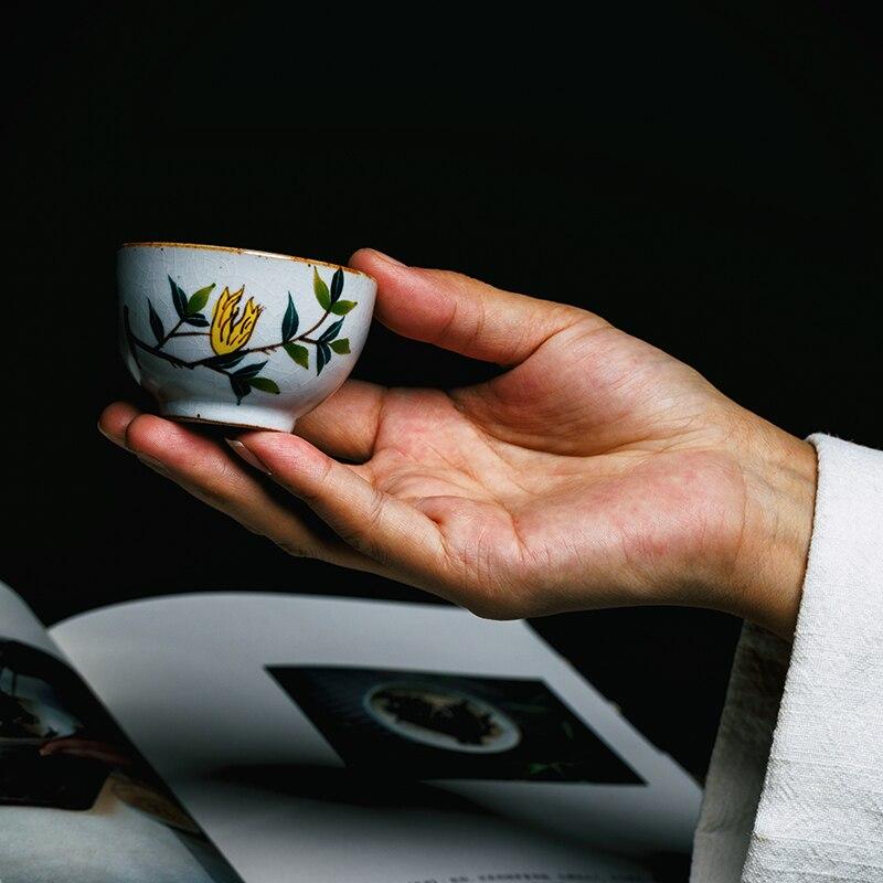 70ml Jingdezhen Ceramic Crackle Glaze Hand Painted Teacup Vintage Puer Tea Cup Master Cup 2006 357g Tea Cake Ripe Puer Pu erh