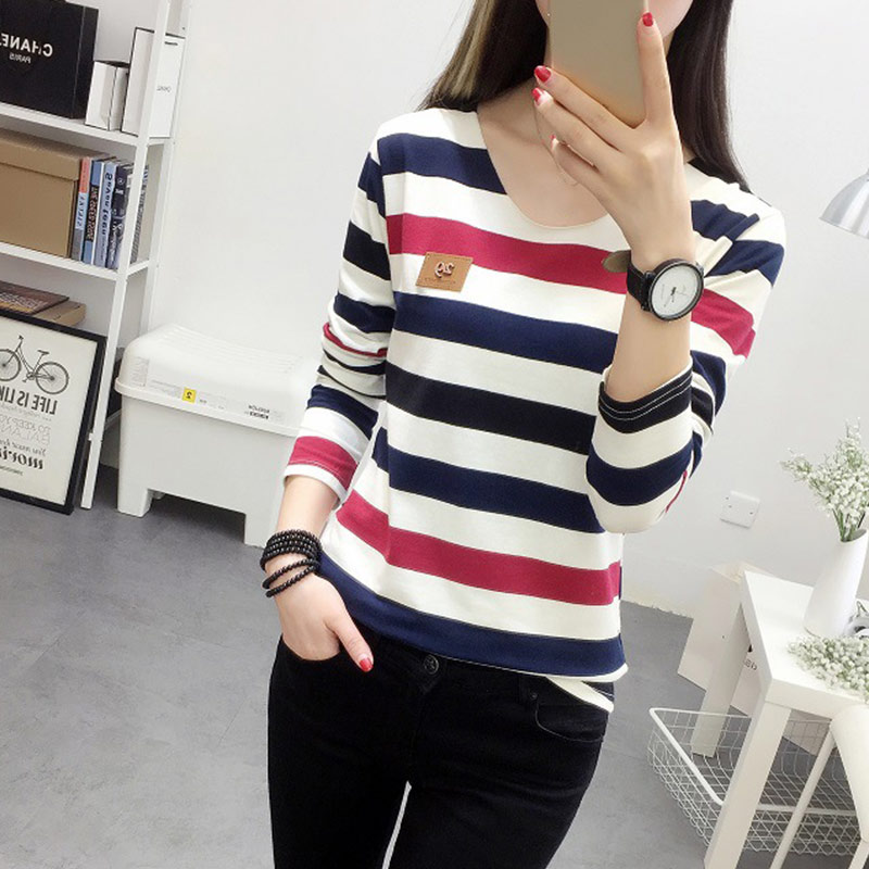 Newly Women Autumn Long Sleeve T-shirt Colored Stripe Lady Loose Fit Tops VK-ING