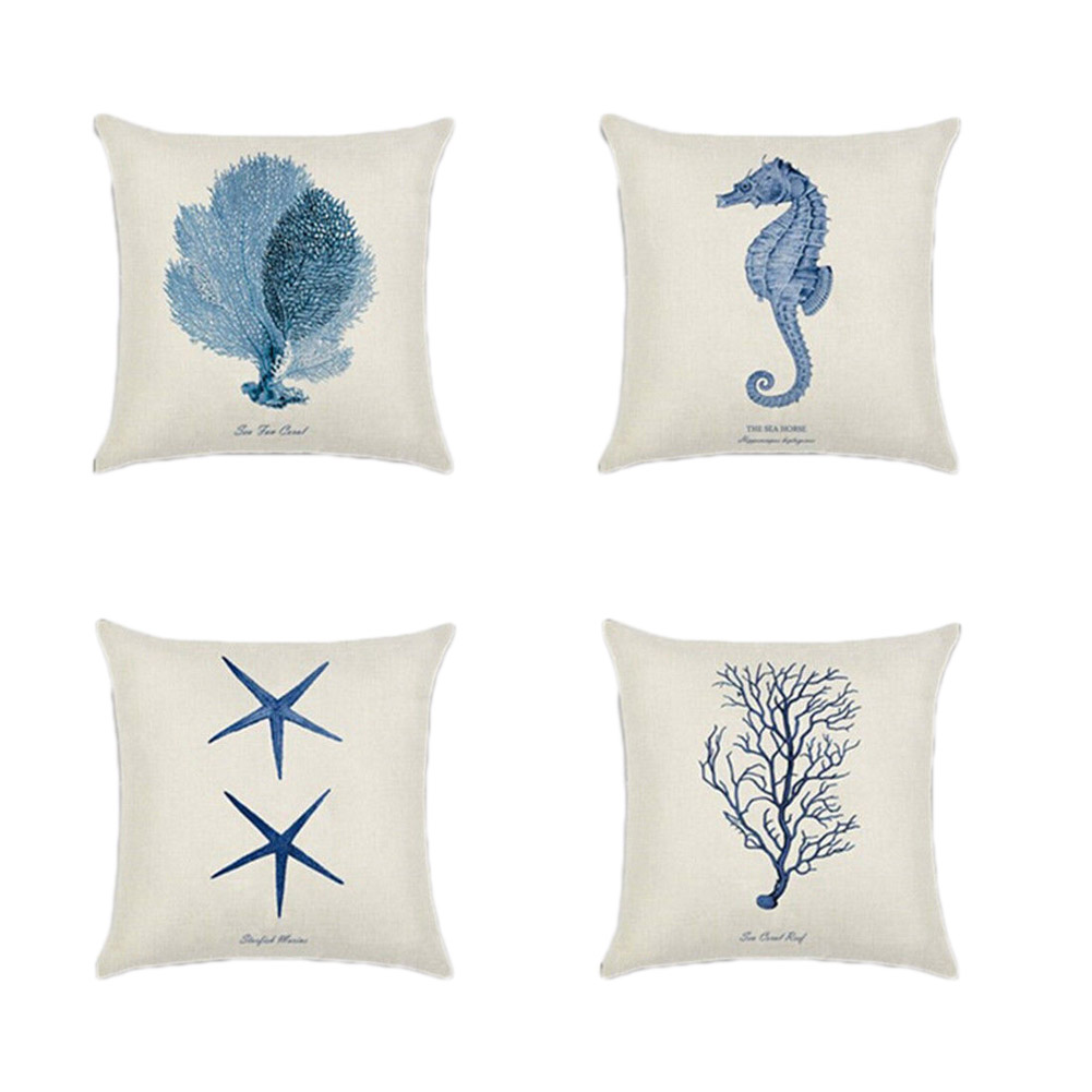 45x45cm Mediterranean style Marine Ocean Sea Starfish coral Pillowcase Linen Cotton Throw Pillow Cover Home decor