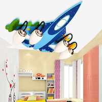 Acrylic Wireless Bluetooth Airplane E14 Led Ceiling Lights Kids 110V 220V USB Audio Amplifier Speakers Wooden Led Ceiling Light