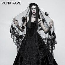 Панк рейв Готический цветы прозрачный Великолепный черный кружевной вуаль Викторианский шарф мода S224