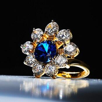 e12c28d0dca2 ZHE ventilador azul AAA Zirconia cúbica rodio Prong Color oro 2 tonos flor  joyería anillo Halo romántico fiesta anillos de compromiso las mujeres