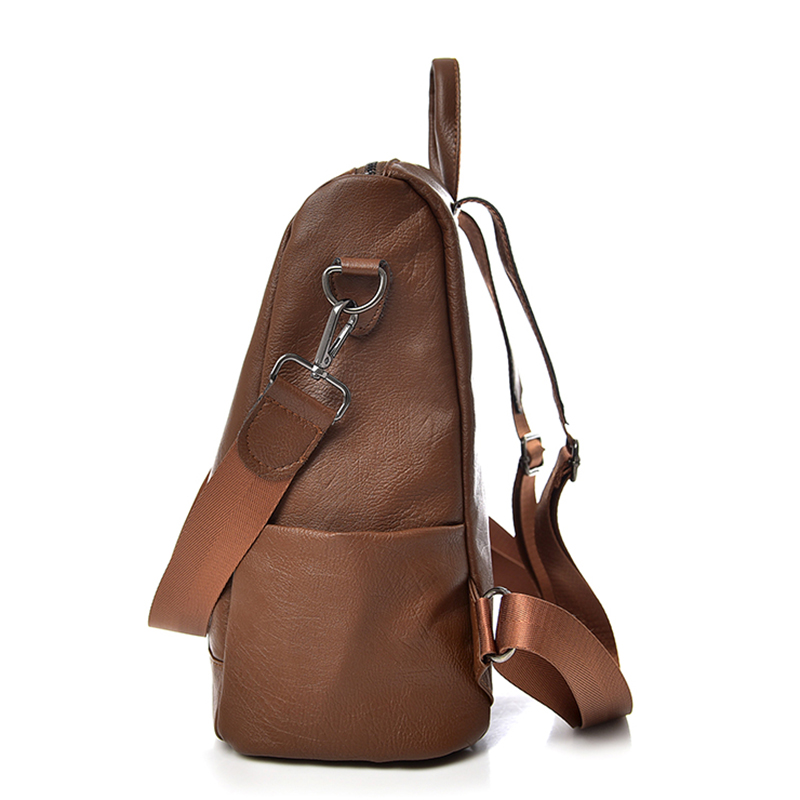 Saiten New Pu Leather Women Backpack Casual School Backpack For Teenager Girl Large Capacity Multifunction Backpack Mochil #4