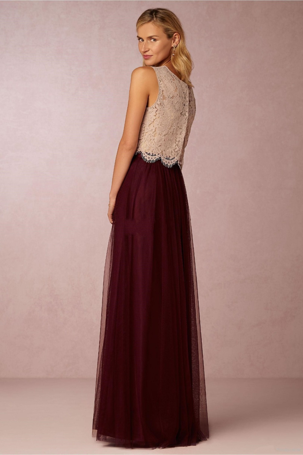 2018 new two pieces lace crop top tulle bridesmaid dresses long 2018 new two pieces lace crop top tulle bridesmaid dresses long burgundy prom gowns vestido de festa longo wedding party gown in bridesmaid dresses from ombrellifo Images