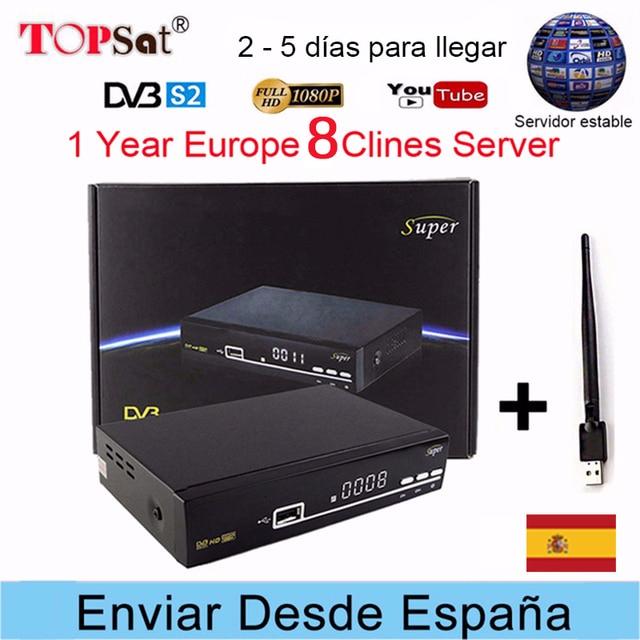 V8 Super Receptor DVB-S2 HD FTA Satellite TV Receiver + Europe 8 Clines for 1 Year Spain+USB WIFI free decoder PK V8 nova TV BOX