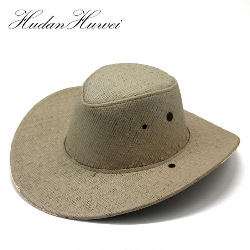 ced546e853e75e Unisex Paper Straw Western Cowboy Cowgirl Hats Summer Wide Brim Beach  Sunhat Topee Sunbonnet Panama Jazz