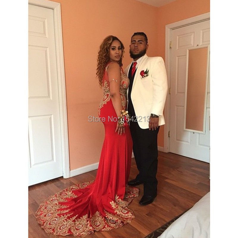 fd2660776a960 Gold Lace Beaded Sexy Red Mermaid Prom Dress Long Train Sexy Women Special  Occasion Evening Gowns-in Prom Dresses from Weddings & Events on  Aliexpress.com ...