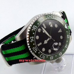 43mm bliger czarna tarcza ceramiczna ramka szkiełka zegarka szafirowe szkło GMT automatyczny męski zegarek 400 w Zegarki sportowe od Zegarki na