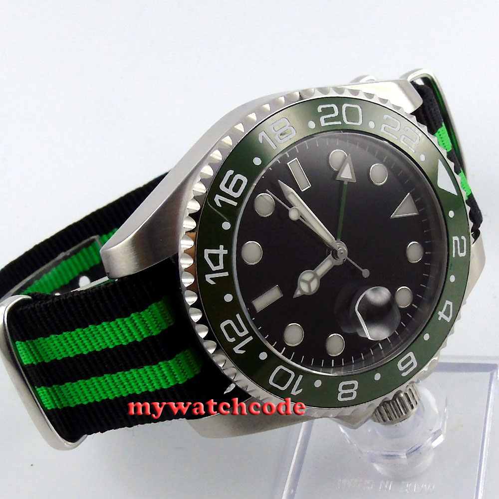лучшая цена 43mm parnis black dial Ceramic Bezel sapphire glass GMT automatic mens watch 400