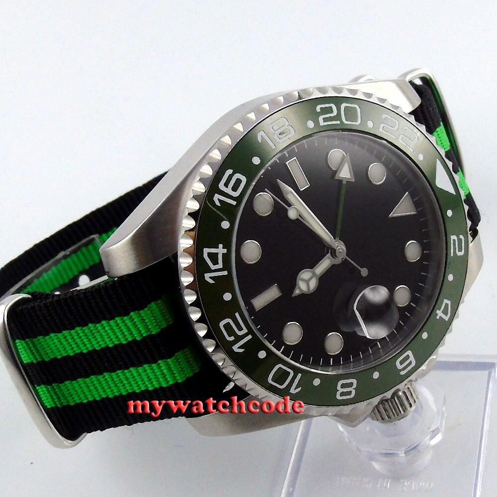 где купить 43mm parnis black dial Ceramic Bezel sapphire glass GMT automatic mens watch 400 по лучшей цене