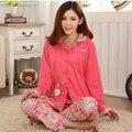 Boneca balão dos desenhos animados de algodão conjuntos de pijama para as mulheres sleepwear senhora pijama meninas ternos de algodão agasalho botão primavera outono M L XL