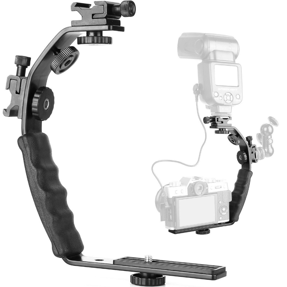 Camera L Bracket Mount Video Grip L-Bracket With Dual Flash Cold Shoe Mount 1/4""