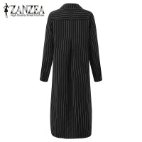 ZANZEA 2017 Autumn Fashion Women Striped Basic Vestidos New Lapel Neck Button Split High Low Casual
