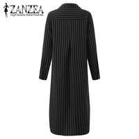 ZANZEA 2017 Autumn Fashion Women Striped Basic Vestidos New Lapel Neck Button Split High Low Casual