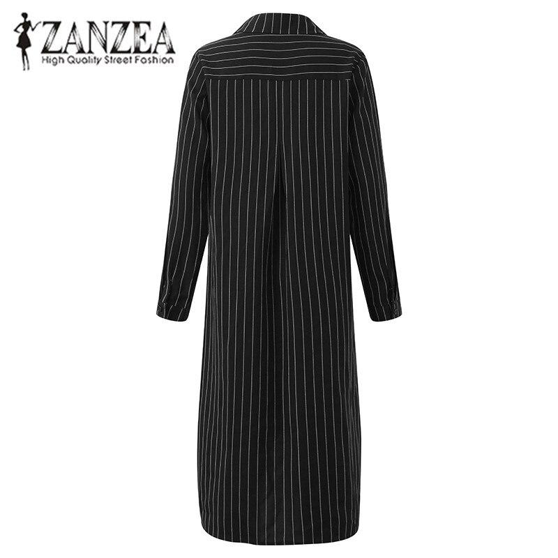 ZANZEA 2018 Autumn Fashion Women Striped Basic Vestidos New Lapel Neck Button Split High Low Casual
