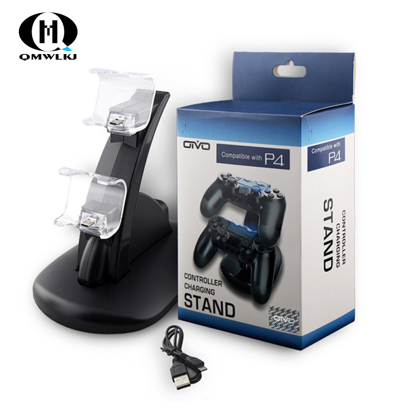 Controller Charger Dock LED Dual USB PS4 Stand up Charger For Sony PlayStation 4 / PS4 Pro Wireless Game Handle Joystick holder-in Chargers from Consumer Electronics