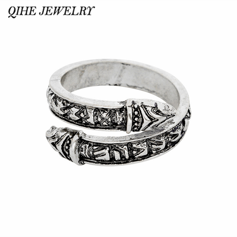 QIHE JEWELRY Viking ring 3 color snake heads viking weeding ring Ring for men Norse myth ...