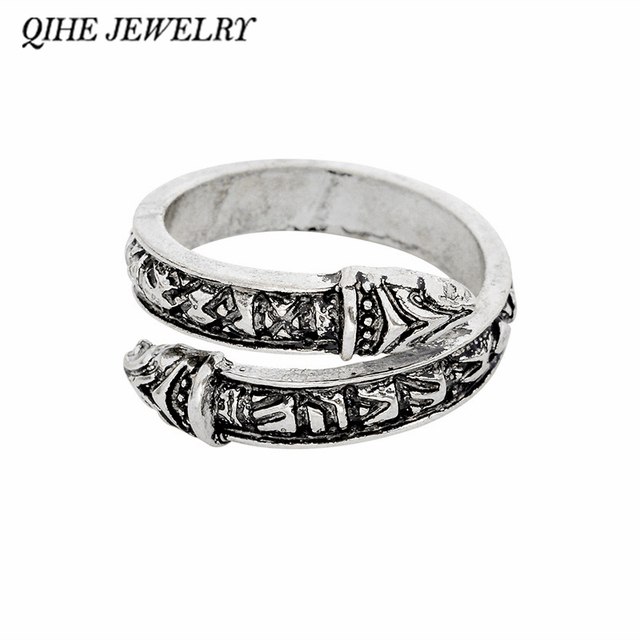 QIHE JEWELRY Viking ring 3 color snake heads viking weeding ring Ring for men No