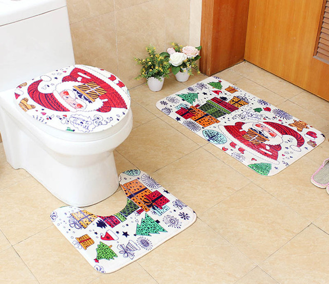 Bathroom Pedestal Mat Toilet Contour Rug Closestool Lid Cover 3PCS Set  Christmas Gift