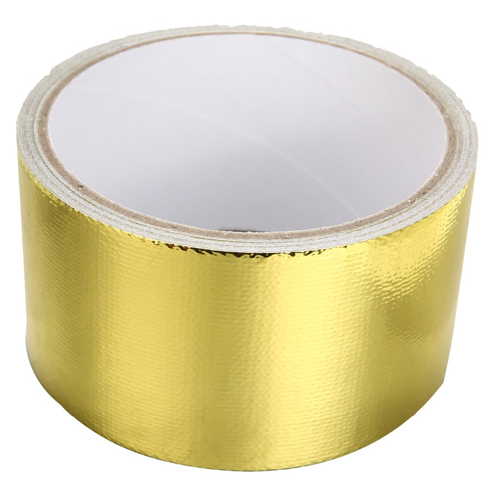 Image 5 - New Arrival 1 Roll 5cm*5m Adhesive Reflective Gold High Temperature Heat Shield Wrap Tape Waterproof Shield Wrap Tape-in Car Stickers from Automobiles & Motorcycles
