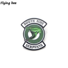 Flyingbee Riverdale Green Snake Enamel Pin For Clothes Bags Backpack badge Personality Brooch Shirt Lapel Pins X0195(China)