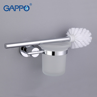 GAPPO 1 Set Wall Mount Toilet Zinc Alloy Brush Holder Mounting Seat Holder Glass Cups Bathroom