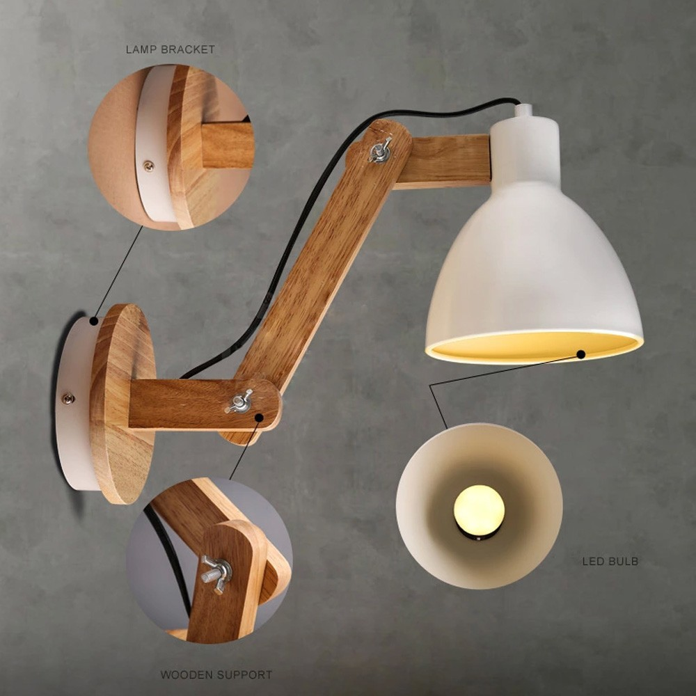 Fashion Wood Handcrafted Swing Arm Light Sconce Led Wall Lamp Nordic Style For Study Foyer Home Decoration Lighting In Lamps From Lights