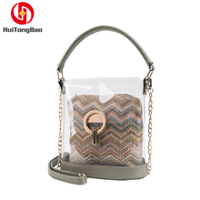 Transparent Small Water Bucket Jelly Bag Woven Beach Hand-held Straddle Shoulder Clear Women Messenger Bags  Handbags