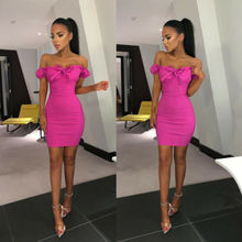 New Women's Off Shoulder Bandage Empire Waist Casual Puff Sleeve Slash Neck Evening Party Club Mini Bodycon Dress