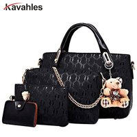 Famous Brand Female Classic England Handbags High Quality Female Leather Shoulder Bag 4Pcs Set CrossBody Bags