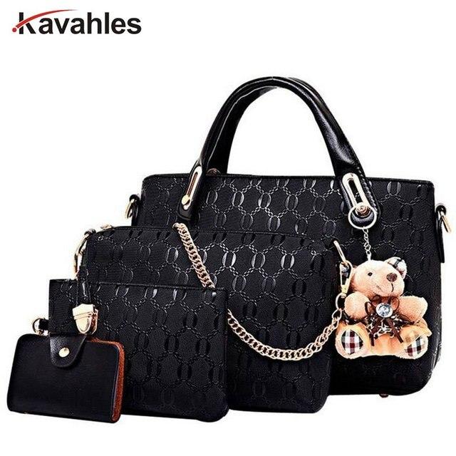 Famous Brand Female Classic England Handbags High Quality Leather Shoulder Bag 4pcs Set Crossbody Bags