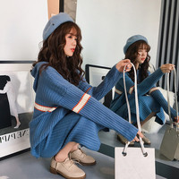 Korean Fashion Long Sleeve Sweaters Top&Midi Skirts Sets Striped Casual Two Piece Knitted Suits 2 Piece Outfits for Women