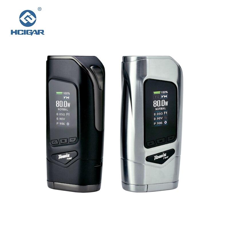 Оригинал Hcigar towis T80 электронной сигареты коробка Mod с XT80S чипсет 5-80 Вт выход TFT Цвет Экран MOD