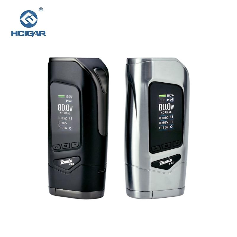 Original Hcigar Towis T80 e-zigarette Box Mod mit XT80S chipset 5-80 Watt ausgang Tft-farbbildschirm MOD
