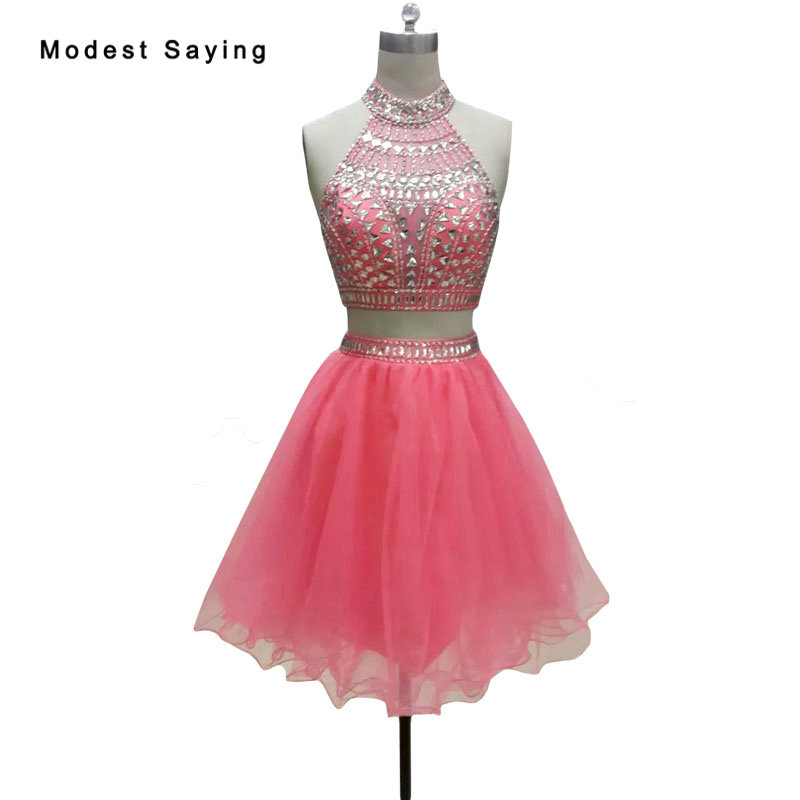 Sexy Watermelon A-Line 2 Pieces   Cocktail     Dresses   2018 with Rhinestone HIgh Neck Homecoming   Dress   Short Party Gowns robe   cocktail