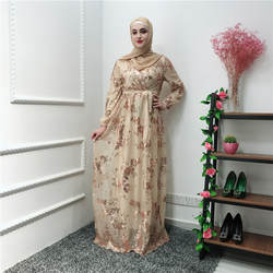 Роскошные мусульманские кружево вышивка Bronzing Абая длинные платья кардиган KimonoLong халаты Jubah Ближний Восток ИД Рамадан Исламская