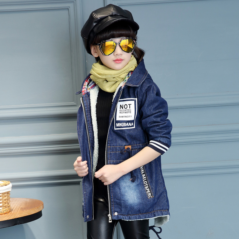 ФОТО Girl Winter Clothes Loose Coat New Pattern Long Fund Cowboy Jacket  Down Thickening Children Cotton-padded Clothes Cotton