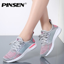 PINSEN 2019 Fashion Sneakers Women Shoes Slipony Breathable Lace-Up Casual Lover Shoes Woman Summer Flats Shoes chaussure homme