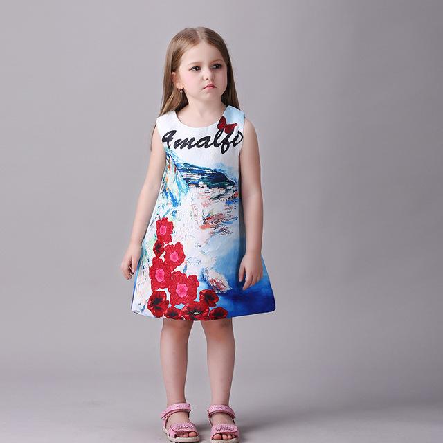 Novatx vestido de niña de las flores de moda las niñas vestidos de los niños sin mangas vestidos de partido de la princesa vestido de algodón ropa de niños nueva 2017