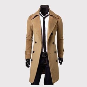 Aliexpress selling European style double breasted coat lengthened simple luxury wool coat male