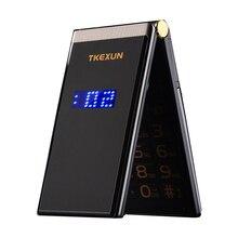 """Hommes Flip tactile grand écran 3.0 """"affichage téléphone daffaires rapide SOS clé corps en métal Senior téléphone portable Non intelligent M2 P302"""