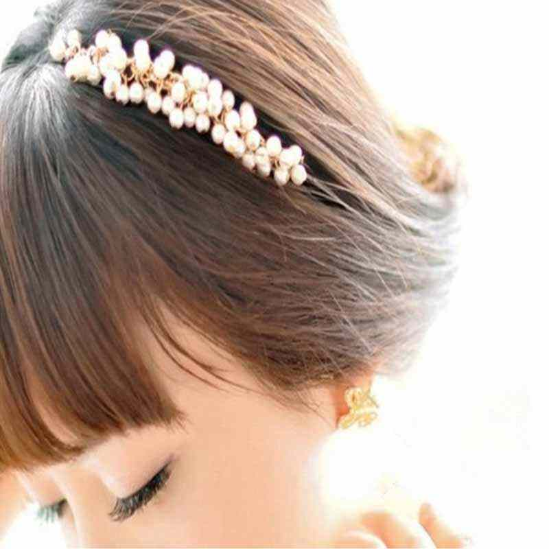 2019 Fashion Crystal Pearl Beaded Hair Band Headwear Girl Women Handmade Hair Accessories Headwear Wedding Bridal Tiara Jewelry