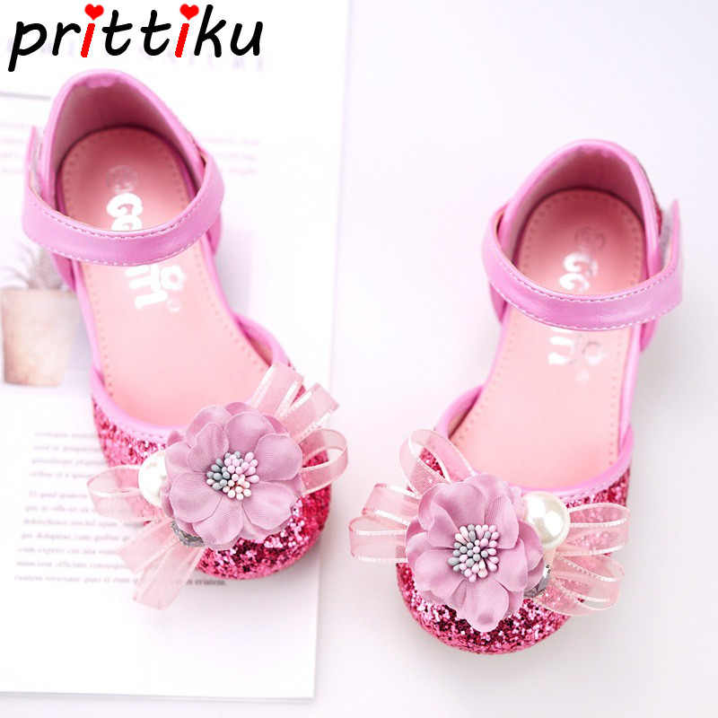 Summer 2018 Toddler Girl Glitter Sequin Faux Pearl Flower Sandal Little Kid Fashion Princess Flats Big Children Pink Dress Shoes ems dhl free shipping toddler little girl s 2017 princess ruffles layers sleeveless lace dress summer style suspender