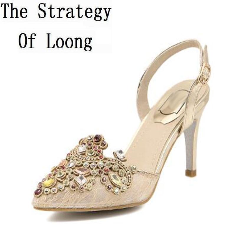 где купить Korean Style Crystal Thin High Heel Pointed Toe Ankle Wrap Lady Rhinestone Sandals 2017 New Fashion Summer Sandal Shoes SXQ0605 по лучшей цене