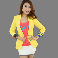 2018 Candy Color Temperament Spring Autumn New Bright Yellow Suit Women Blazer Jacket
